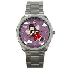 Cupid Girl Sport Metal Watch by Valentinaart