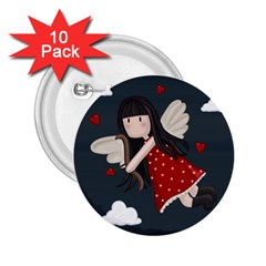 Cupid Girl 2 25  Buttons (10 Pack)  by Valentinaart