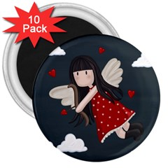 Cupid Girl 3  Magnets (10 Pack)  by Valentinaart