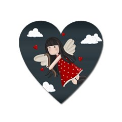 Cupid Girl Heart Magnet by Valentinaart