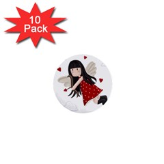 Cupid Girl 1  Mini Buttons (10 Pack)  by Valentinaart