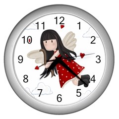 Cupid Girl Wall Clocks (silver)  by Valentinaart