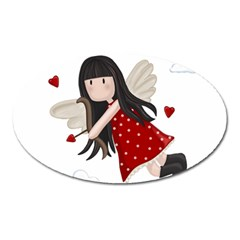 Cupid Girl Oval Magnet by Valentinaart