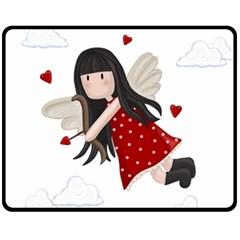 Cupid Girl Fleece Blanket (medium)  by Valentinaart