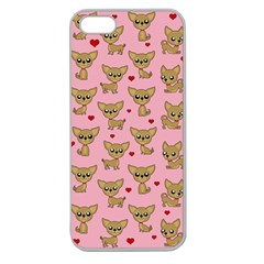 Chihuahua Pattern Apple Seamless Iphone 5 Case (clear) by Valentinaart