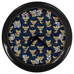 Chihuahua Pattern Wall Clocks (black) by Valentinaart
