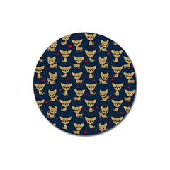 Chihuahua Pattern Magnet 3  (round) by Valentinaart