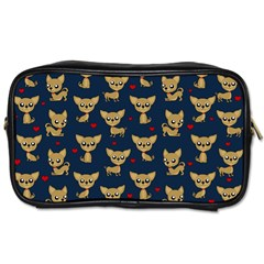 Chihuahua Pattern Toiletries Bags 2 Side by Valentinaart