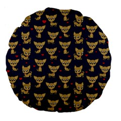 Chihuahua Pattern Large 18  Premium Flano Round Cushions by Valentinaart