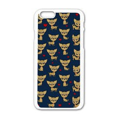 Chihuahua Pattern Apple Iphone 6/6s White Enamel Case by Valentinaart