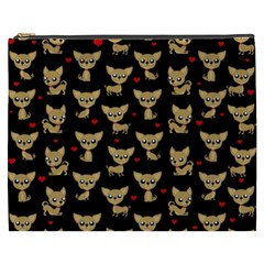 Chihuahua Pattern Cosmetic Bag (xxxl)  by Valentinaart