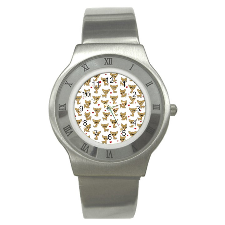 Chihuahua pattern Stainless Steel Watch