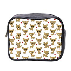 Chihuahua Pattern Mini Toiletries Bag 2 Side by Valentinaart