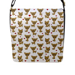 Chihuahua Pattern Flap Messenger Bag (l)  by Valentinaart