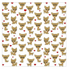 Chihuahua Pattern Large Satin Scarf (square) by Valentinaart