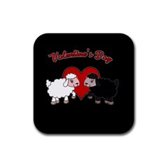 Valentines Day   Sheep  Rubber Square Coaster (4 Pack)  by Valentinaart