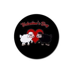 Valentines Day   Sheep  Rubber Round Coaster (4 Pack)  by Valentinaart
