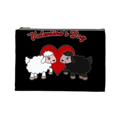 Valentines Day   Sheep  Cosmetic Bag (large)  by Valentinaart