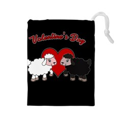 Valentines Day   Sheep  Drawstring Pouches (large)  by Valentinaart