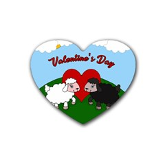 Valentines Day   Sheep  Rubber Coaster (heart)  by Valentinaart