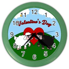 Valentines Day   Sheep  Color Wall Clocks by Valentinaart