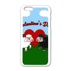 Valentines Day   Sheep  Apple Iphone 6/6s White Enamel Case by Valentinaart
