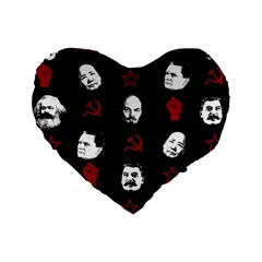 Communist Leaders Standard 16  Premium Flano Heart Shape Cushions by Valentinaart
