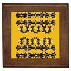 Ornate Circulate Is Festive In Flower Decorative Framed Tiles by pepitasart