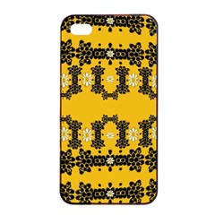 Ornate Circulate Is Festive In Flower Decorative Apple Iphone 4/4s Seamless Case (black) by pepitasart