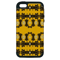 Ornate Circulate Is Festive In Flower Decorative Apple Iphone 5 Hardshell Case (pc+silicone) by pepitasart