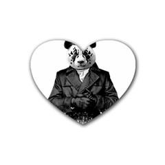 Rorschach Panda Rubber Coaster (heart)  by jumpercat
