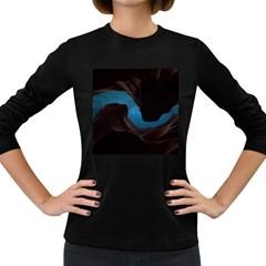 Abstract Adult Art Blur Color Women s Long Sleeve Dark T Shirts