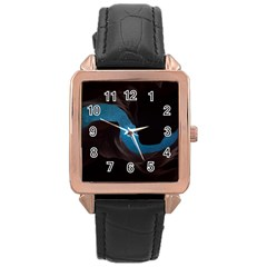 Abstract Adult Art Blur Color Rose Gold Leather Watch