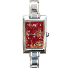 Marble Red Yellow Background Rectangle Italian Charm Watch by Nexatart
