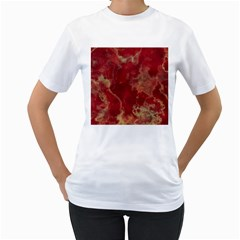 Marble Red Yellow Background Women s T Shirt (white) (two Sided)