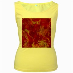 Marble Red Yellow Background Women s Yellow Tank Top