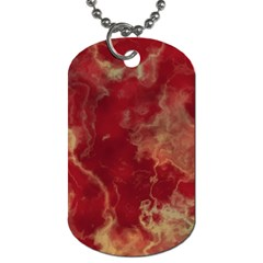 Marble Red Yellow Background Dog Tag (two Sides)