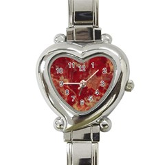 Marble Red Yellow Background Heart Italian Charm Watch