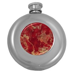Marble Red Yellow Background Round Hip Flask (5 Oz)
