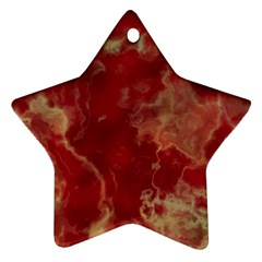 Marble Red Yellow Background Star Ornament (two Sides)