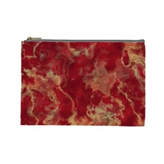 Marble Red Yellow Background Cosmetic Bag (large)