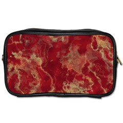 Marble Red Yellow Background Toiletries Bags 2 Side