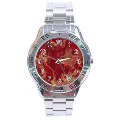 Marble Red Yellow Background Stainless Steel Analogue Watch