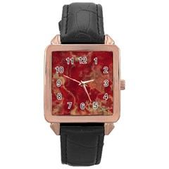 Marble Red Yellow Background Rose Gold Leather Watch