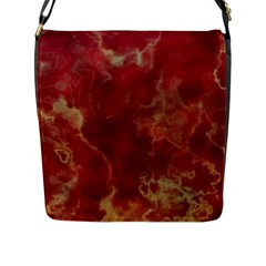 Marble Red Yellow Background Flap Messenger Bag (l)