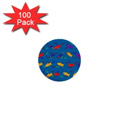 Fish Blue Background Pattern Texture 1  Mini Buttons (100 Pack)