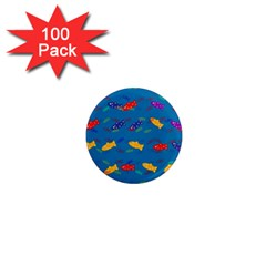 Fish Blue Background Pattern Texture 1  Mini Magnets (100 Pack)  by Nexatart