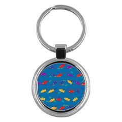 Fish Blue Background Pattern Texture Key Chains (round)