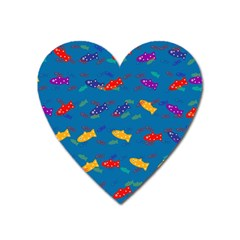 Fish Blue Background Pattern Texture Heart Magnet
