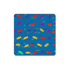 Fish Blue Background Pattern Texture Square Magnet